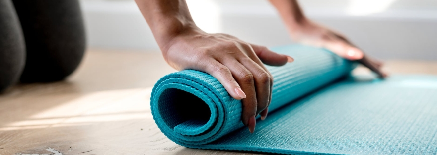 yoga mat, rolled up yoga mat